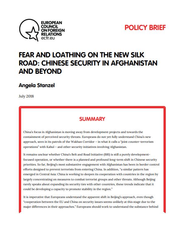 Cover: La sécurité chinoise en Afghanistan