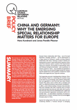 Cover: China and Germany: a new special relationship?