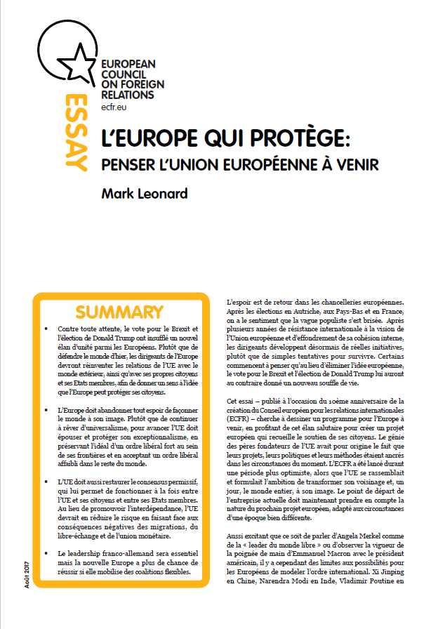 Cover: L'Europe qui protège : penser l'Union européenne à venir