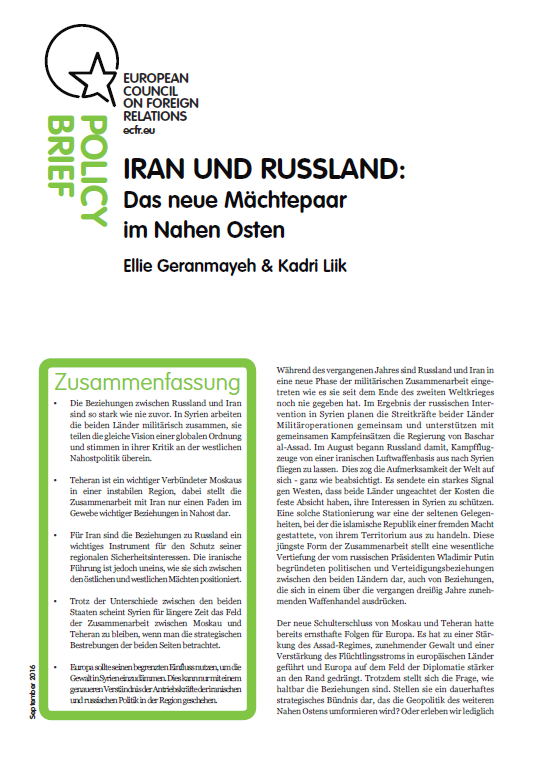 Cover: Das neue Powerduo: Russland und Iran im Nahen Osten
