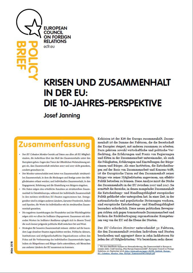 Cover: Krisen und Zusammenhalt in der EU: Die 10-Jahres-Perspektive