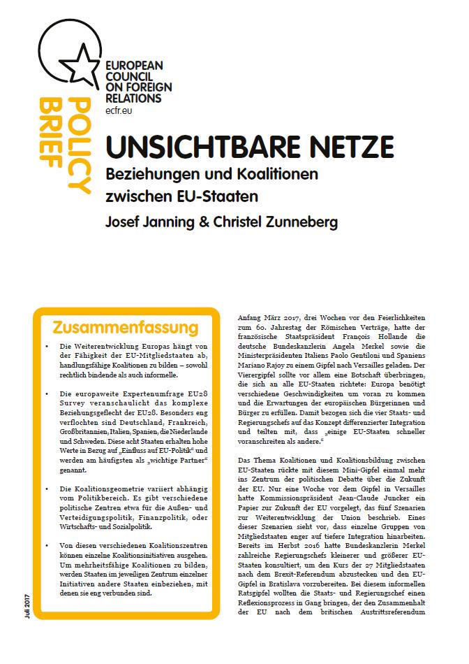 Cover: Unsichtbare Netze Beziehungen und Koalitionen zwischen EU-Staaten