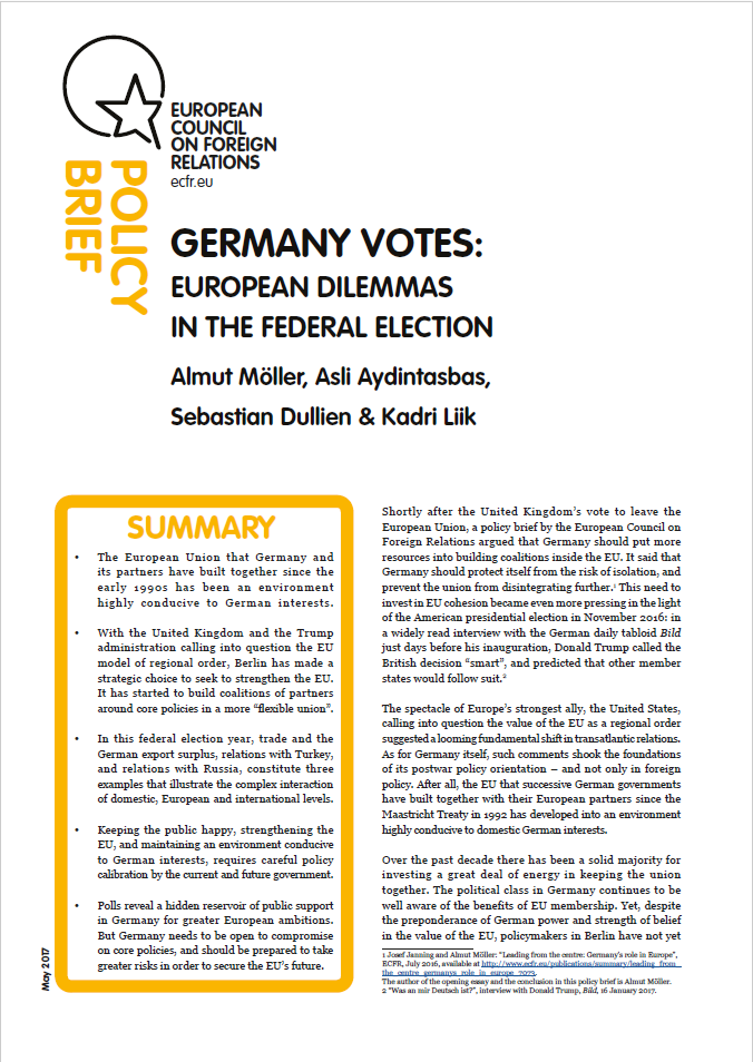 Cover: Germany votes: European dilemmas in the Federal Election