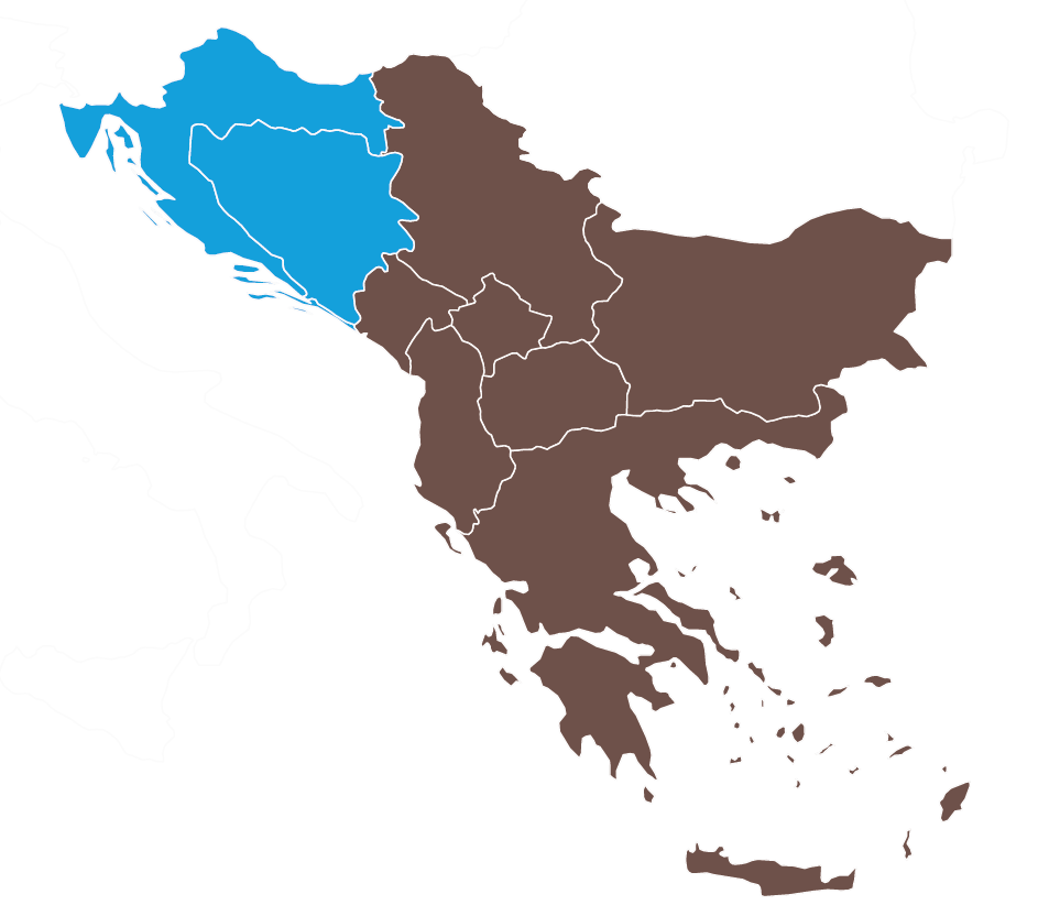 Map of Croatia and Bosnia-Herzegovina
