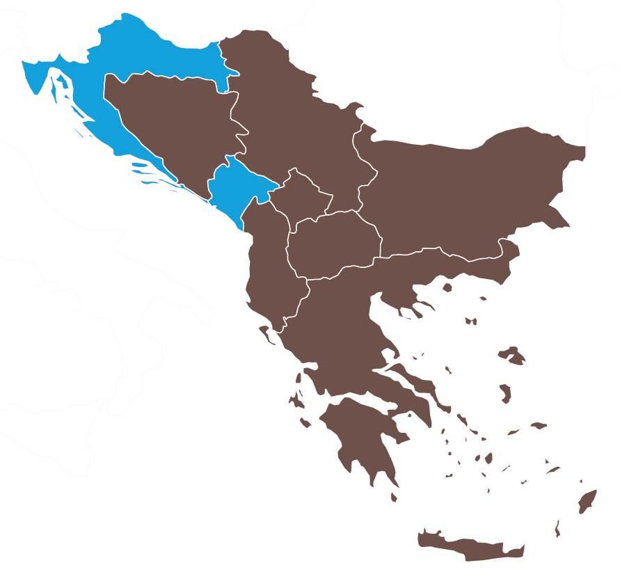 Map of Montenegro and Croatia