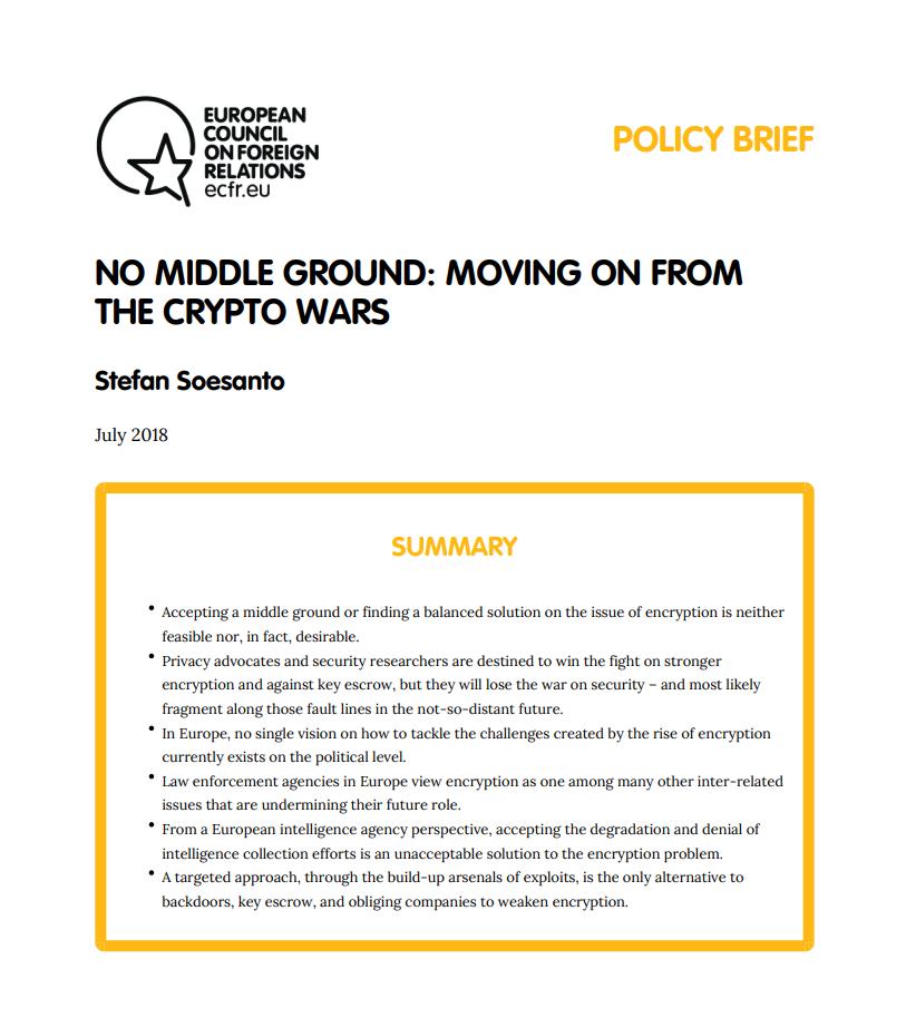 Cover: Pas de juste milieu : au-delà des « crypto wars»