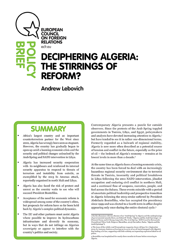 Cover: Deciphering Algeria: the stirrings of reform?