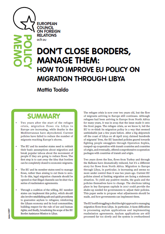 Cover: Don't close borders, manage them: how to improve EU policy on migration through Libya