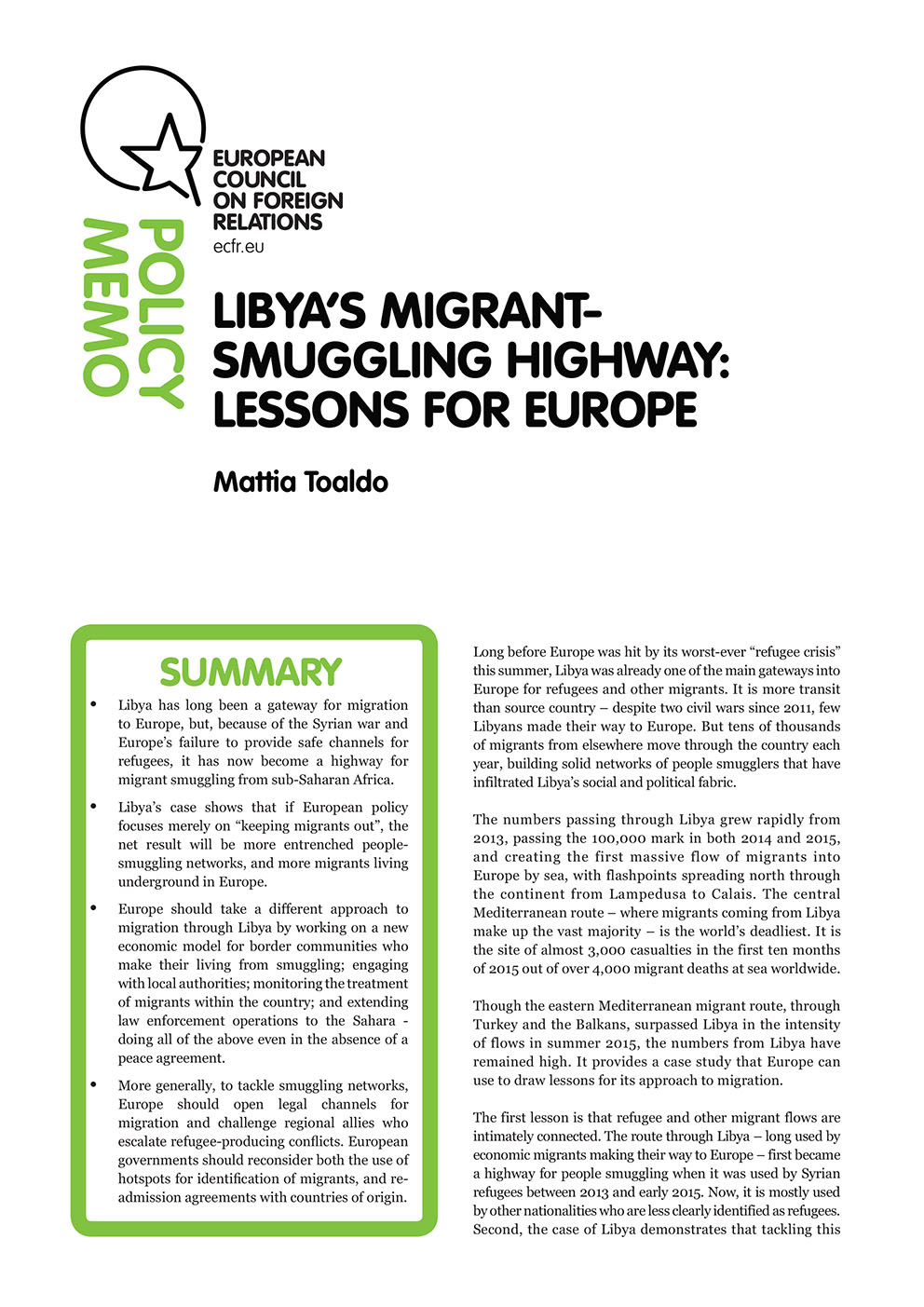 Cover: Libya's migrant-smuggling highway: Lessons for Europe