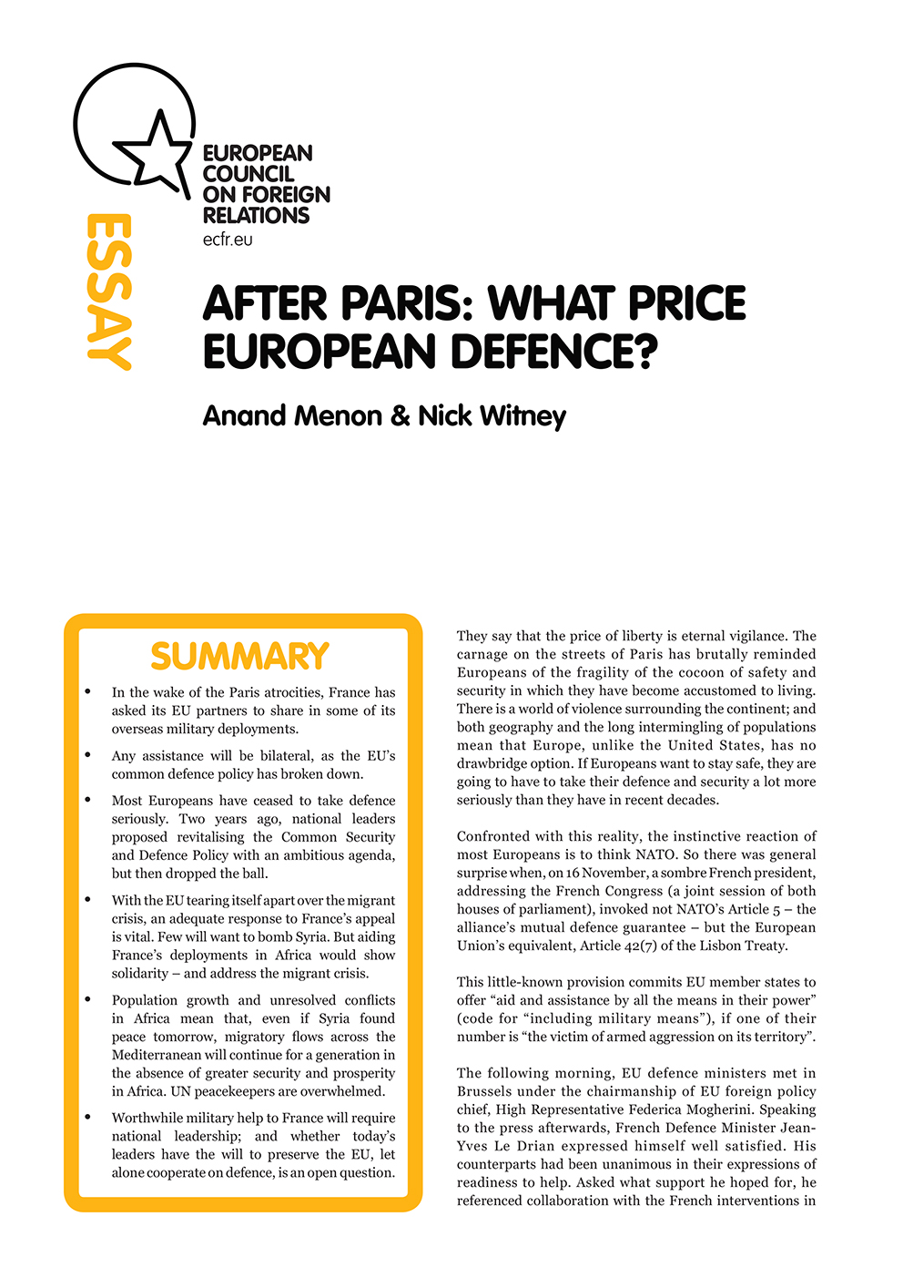 Cover: After Paris: What price European defence?