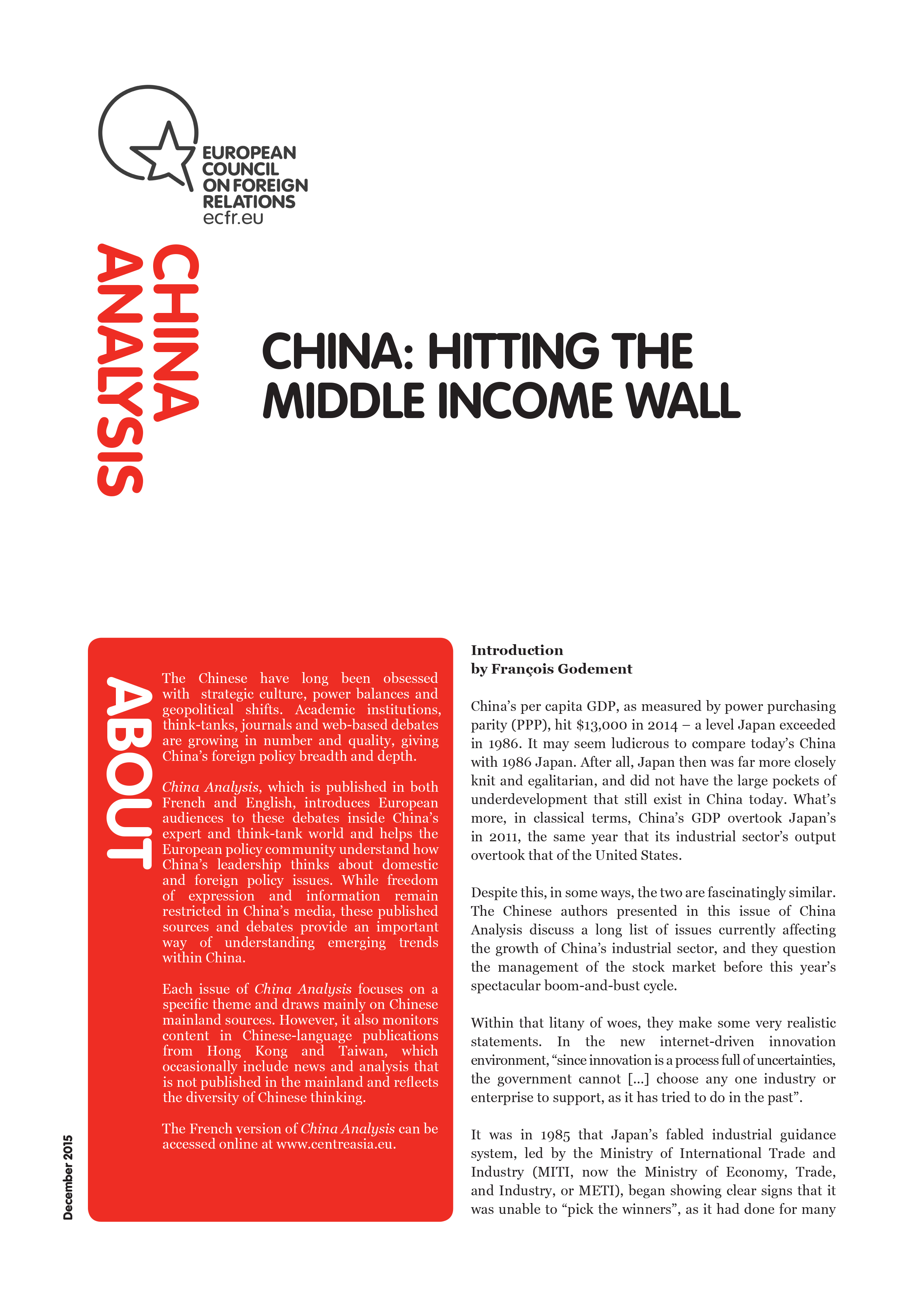 Cover: China: Hitting the middle income wall