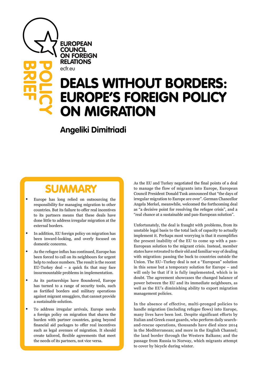 Cover: Deals without borders: Europe's foreign policy on migration