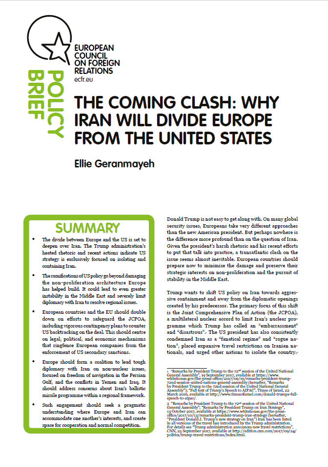 Cover: The coming clash: Why Iran will divide Europe from the United States