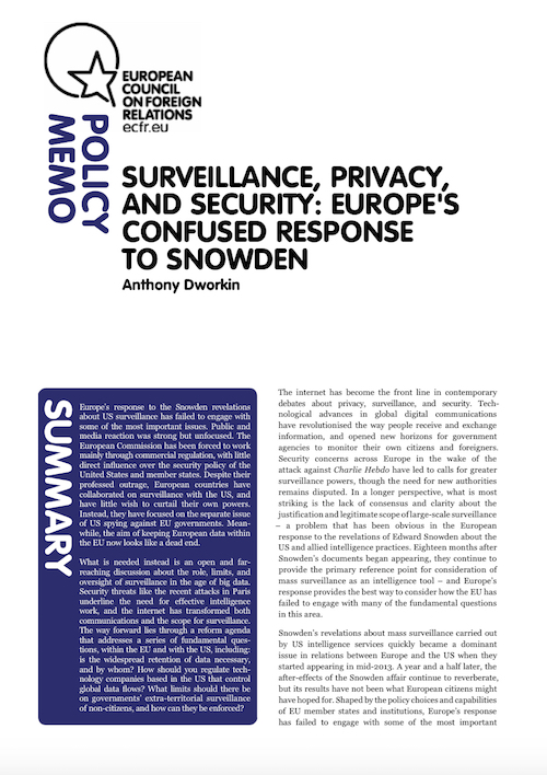 Cover: Surveillance, privacy, and security: Europe's confused response to Snowden