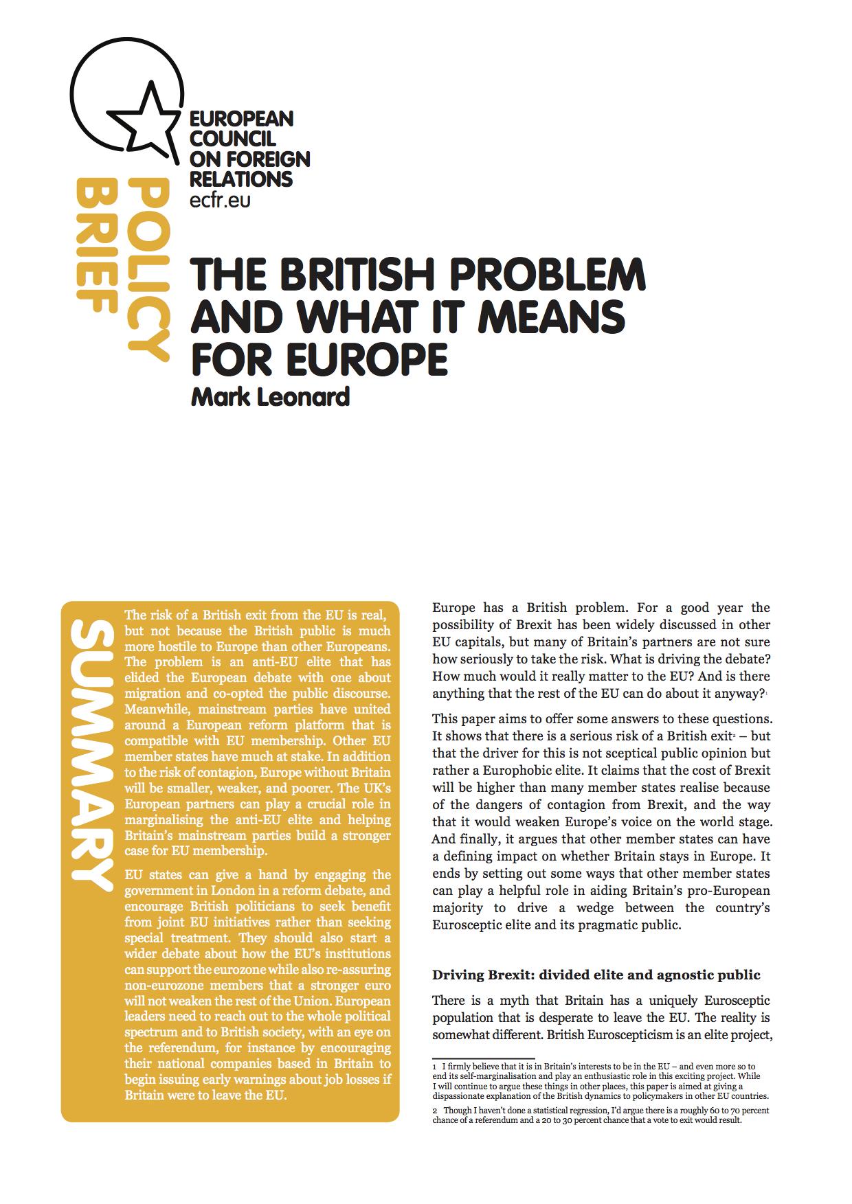 Cover: Le problème britannique et ce qu'il signifie pour l'Europe