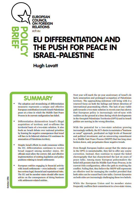 Cover: EU Differentiation and Israeli settlements