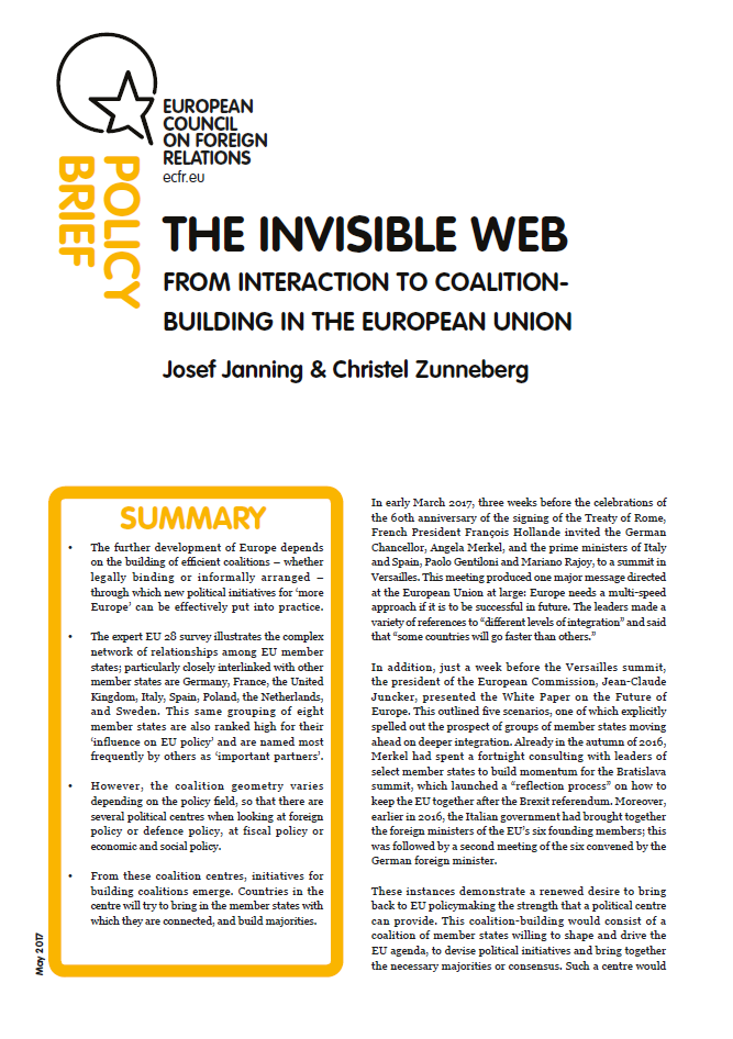 Cover: The invisible web – from interaction to coalition-building in the EU