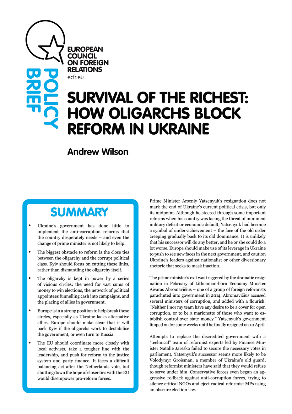 Cover: Survival of the richest: How oligarchs block reform in Ukraine