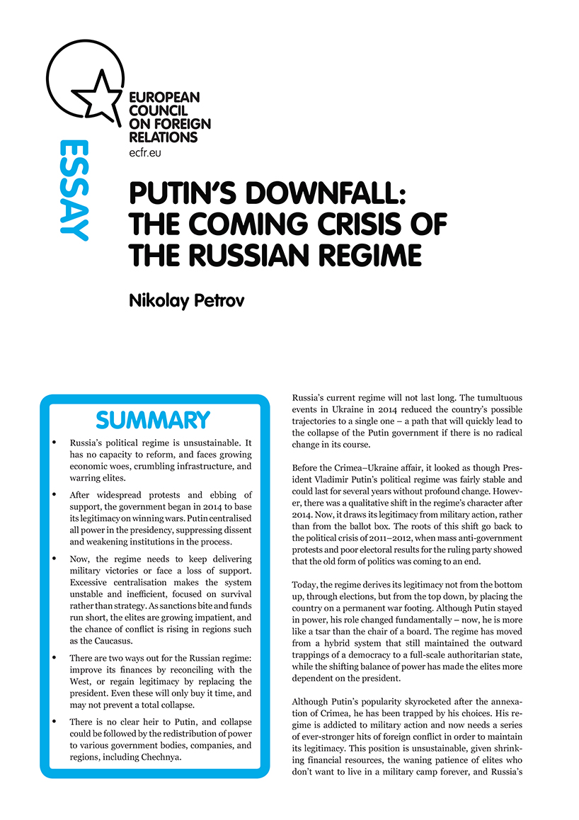 Cover: Putin's downfall: The coming crisis of the Russian regime