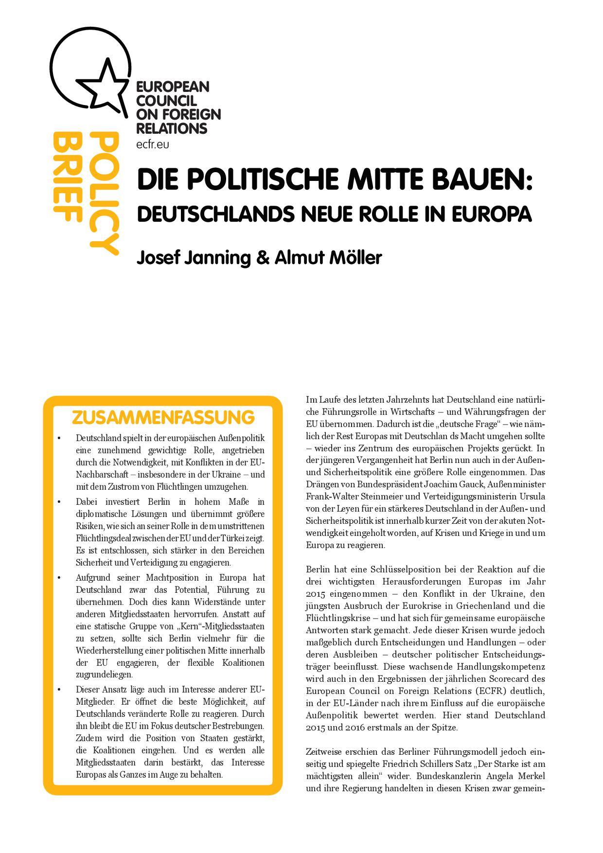 Cover: Die politische Mitte bauen – Deutschlands neue Rolle in Europa