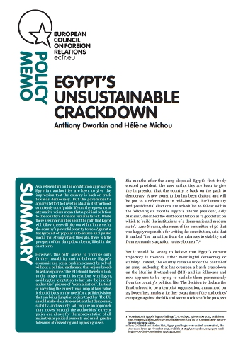 Cover: Egypt's unsustainable crackdown