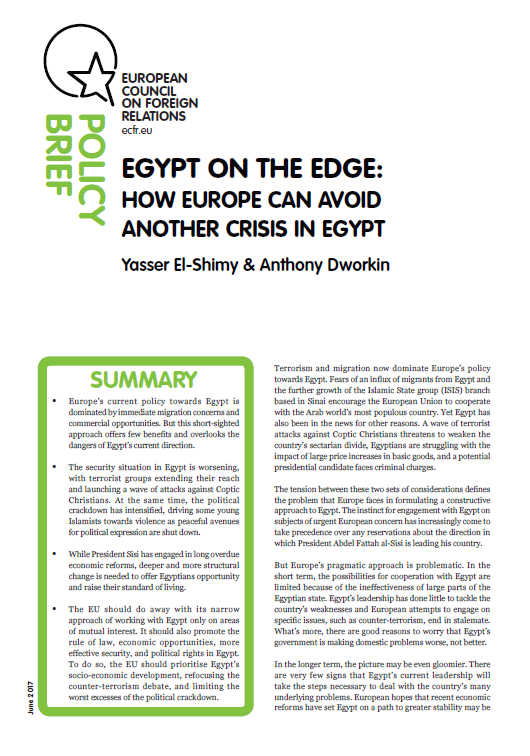 Cover: Egypt on the edge: how Europe can avoid another crisis in Egypt