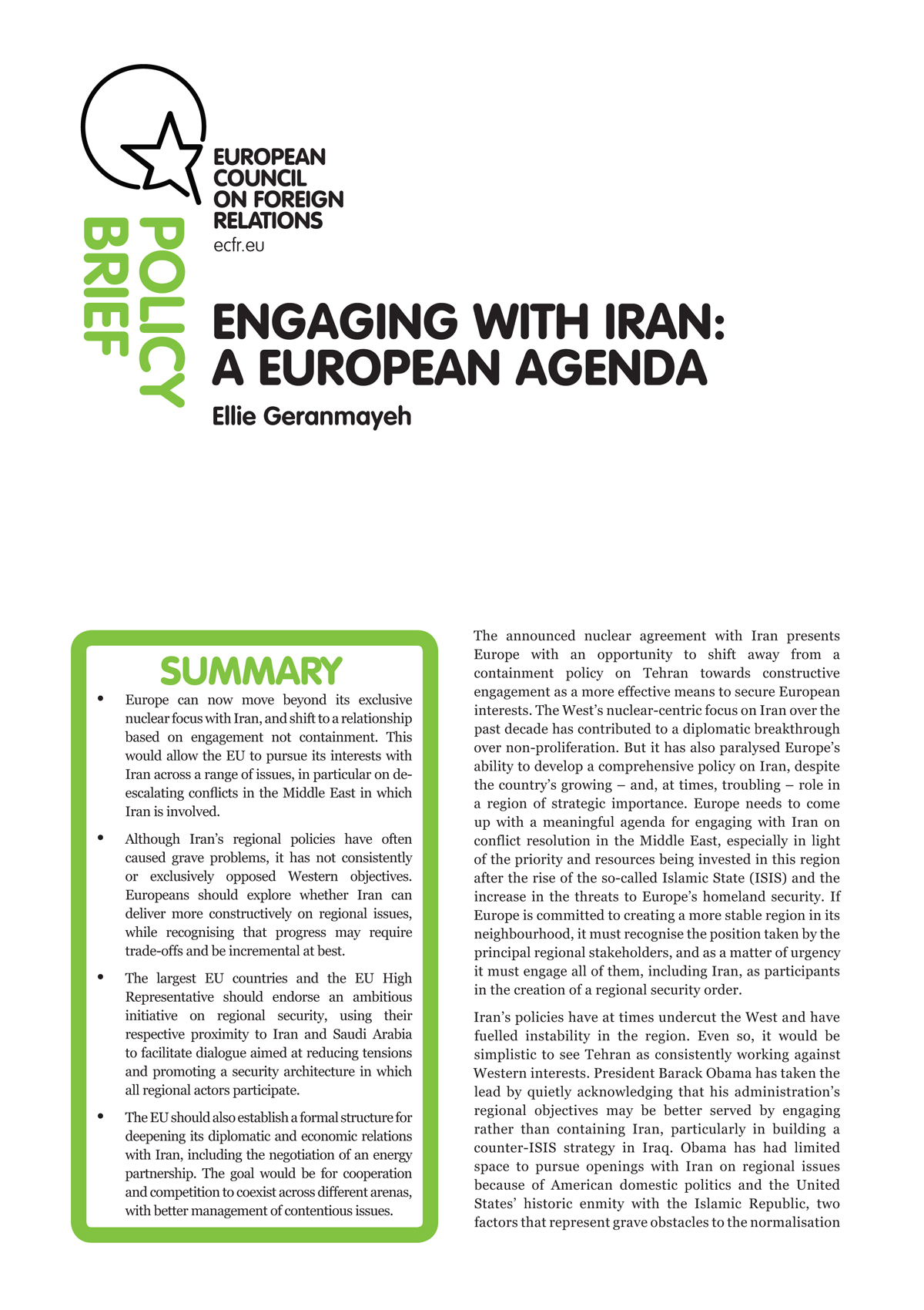 Cover: Engaging with Iran: A European agenda