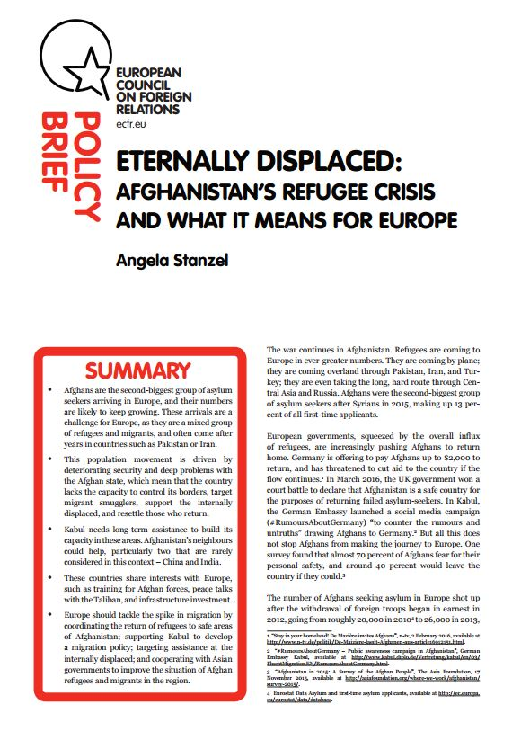 Cover: Eternally displaced: Afghanistan's refugee crisis and what it means for Europe