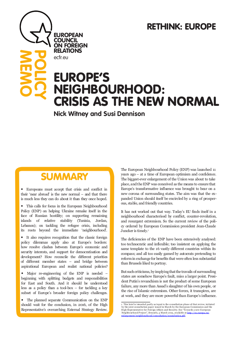 Cover: Europe's Neighbourhood: Crisis as the new normal