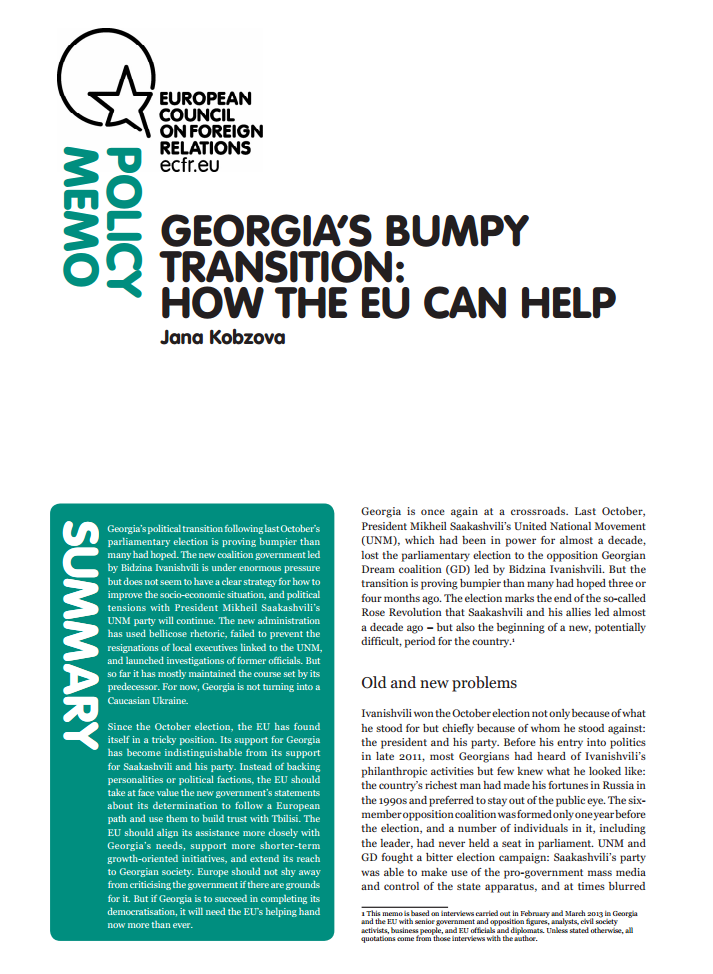 Cover: Georgia's bumpy transition: How the EU can help