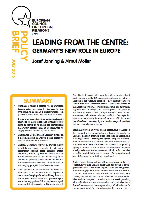 Cover: Leading from the centre: Germany's role in Europe