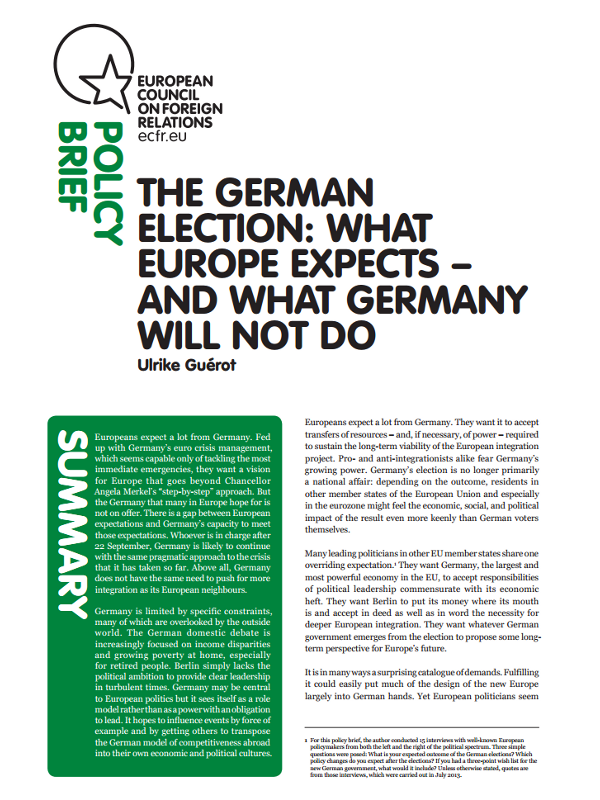 Cover: The German election: What Europe expects - and what Germany will not do