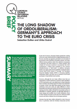 Cover: The long shadow of ordoliberalism: Germany's approach to the euro crisis