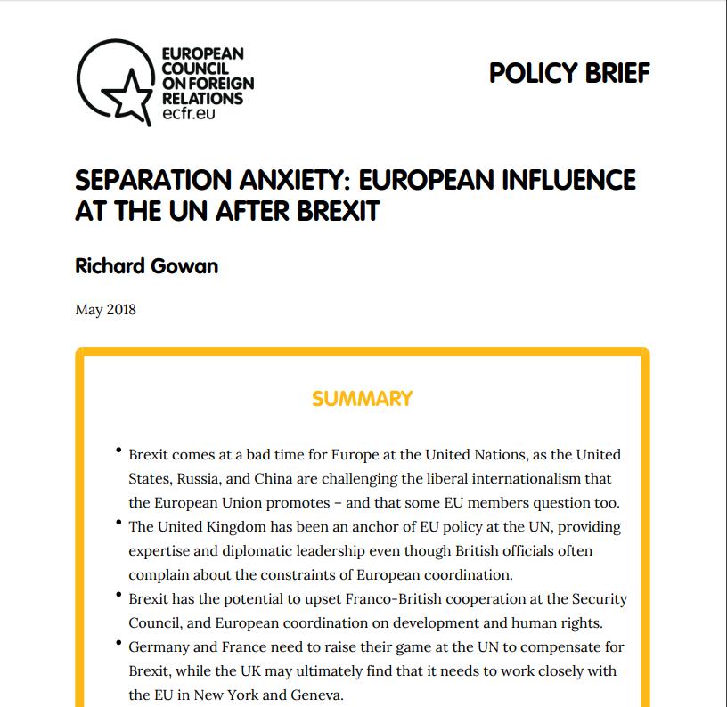 Cover: La diplomatie européenne aux Nations Unies après le Brexit