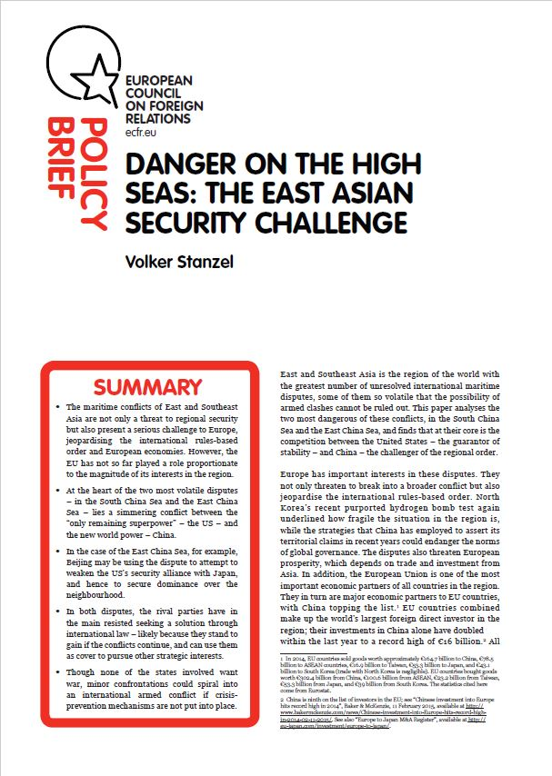 Cover: Danger on the High Seas: The East Asian Security Challenge