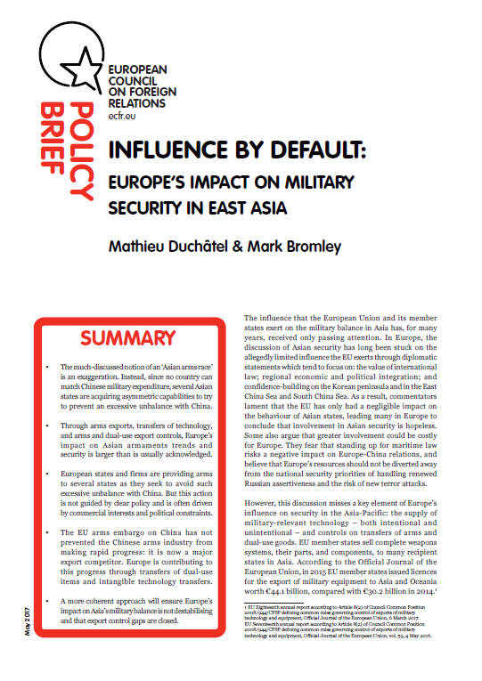 Cover: Influence by default: Europe's impact on military security in East Asia