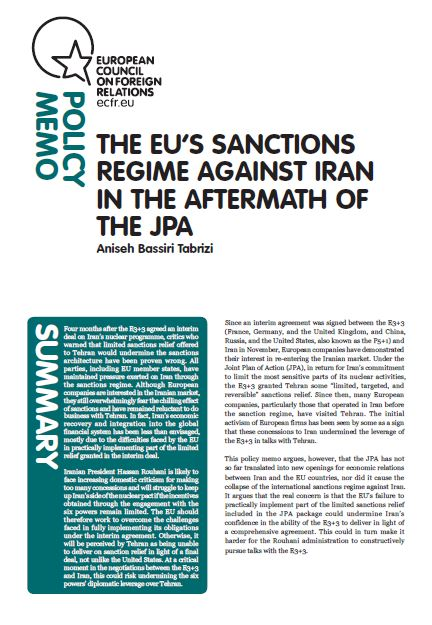 Cover: The EU's sanctions regime against Iran in the aftermath of the JPA