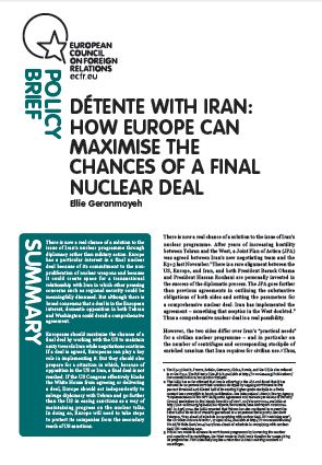 Cover: Détente with Iran; how Europe can maximise the chances of a final nuclear deal