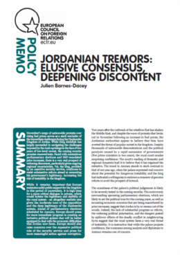 Cover: Jordanian tremors: elusive consensus, deepening discontent