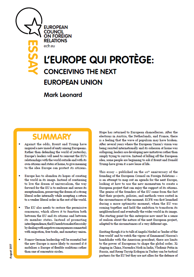 Cover: L'Europe qui protège: Conceiving the next European Union