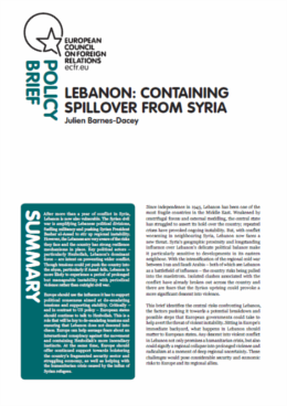 Cover: Lebanon: Containing spillover from Syria