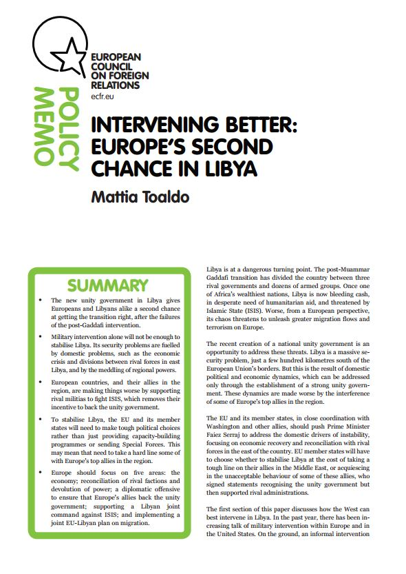 Cover: Intervening better: Europe's second chance in Libya