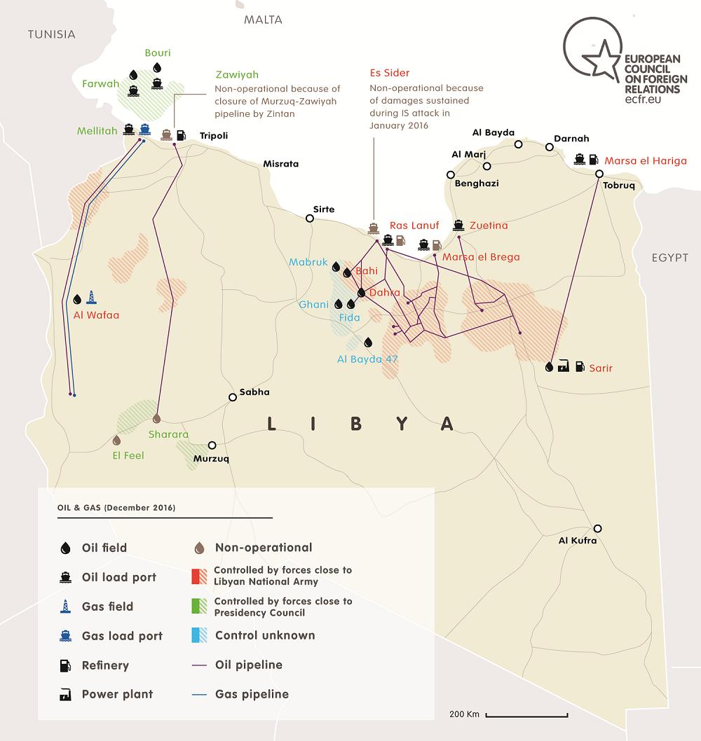 Map of Petroleum Facilities Guard (PFG) in Libya