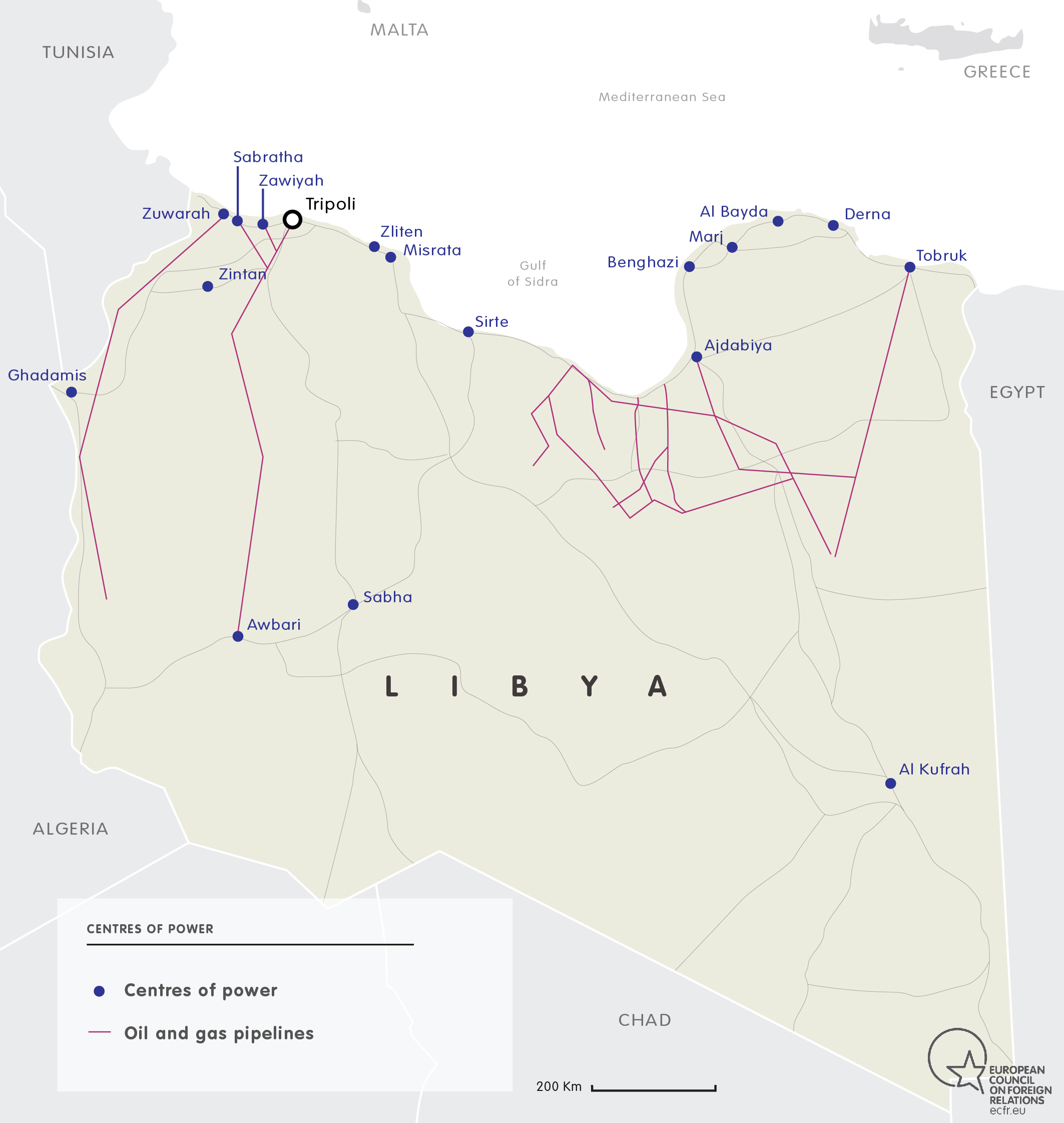 MAP OF OIL & GAS CENTRES OF POWER IN LIBYA