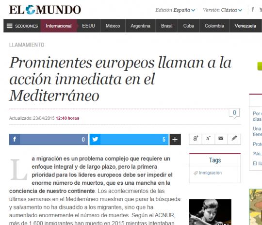 Prominentes europeos llaman a la acción inmediata en el Mediterráneo
