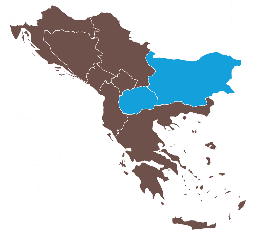 Map of North Macedonia and Bulgaria