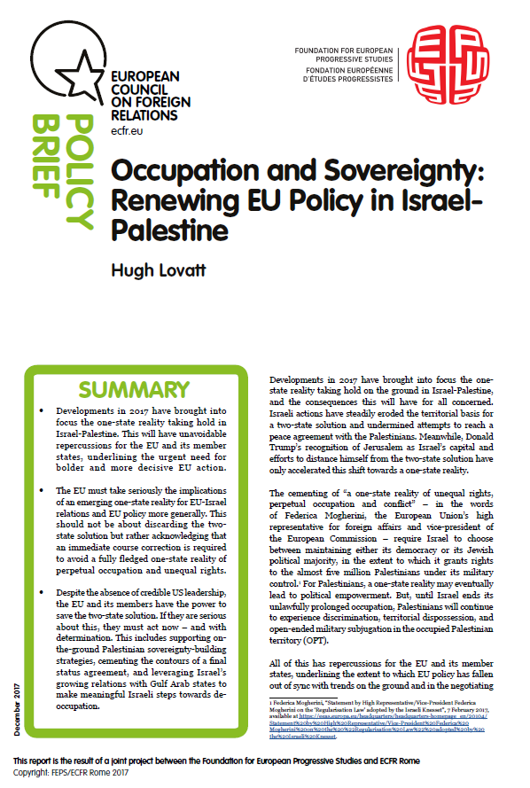 Cover: Occupation and Sovereignty: Renewing EU Policy in Israel- Palestine