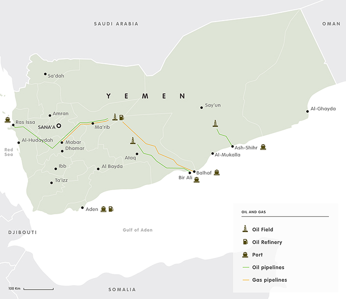 Oil and gas map Yemen 2017