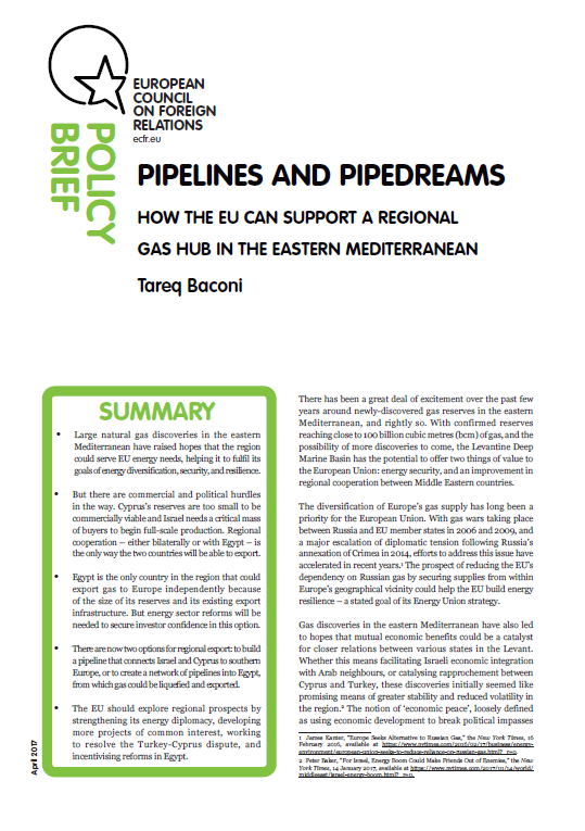 Cover: Pipelines and Pipedreams: How the EU can support a regional gas hub in the Eastern Mediterranean