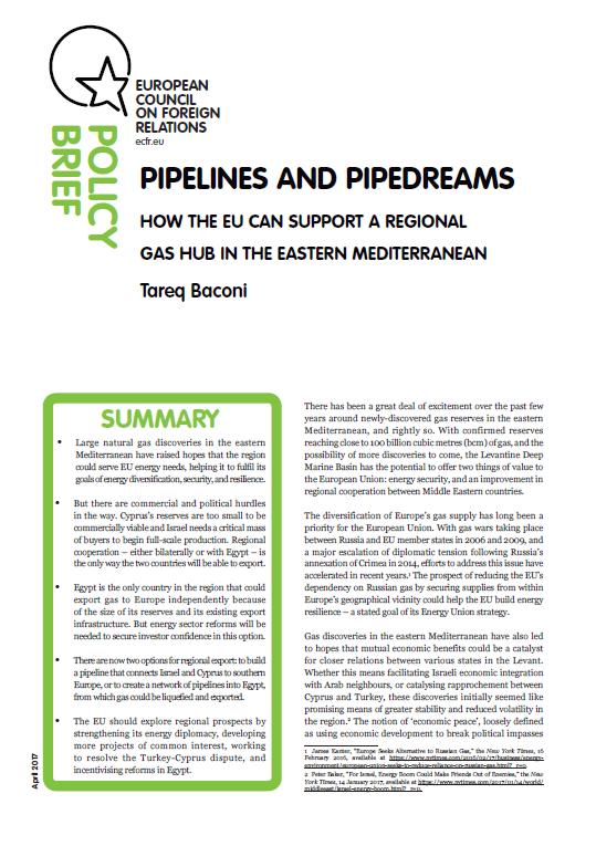 Cover: Un effort européen nécessaire pour créer un hub energetique en Méditerranée